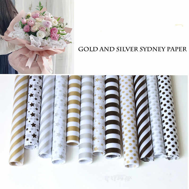 20pc Gold Silver Pattern Tissue Paper 50*70CM Craft Crepe Paper Floral Wrapping Oiled Paper Gift Packing Decoration Festive