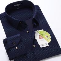 new arrival print mercerized cotton shirt autumn winter men's long sleeve fashion super large plus size M 6XL 7XL 8XL 9XL
