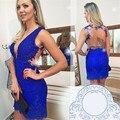 New Fashion Sexy Royal Blue Short V neck Lace Cocktail Dress 2016 Back Transparent Off The Shoulder Sleeveless Cocktail Dress