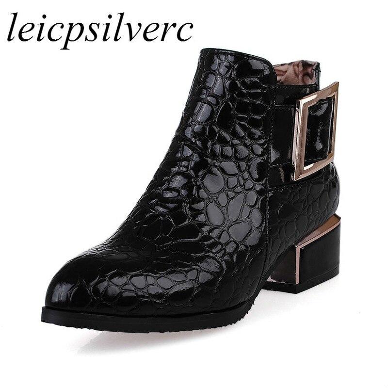 Women Boots Autumn Winter Martin Shoes High Heel Zip ...