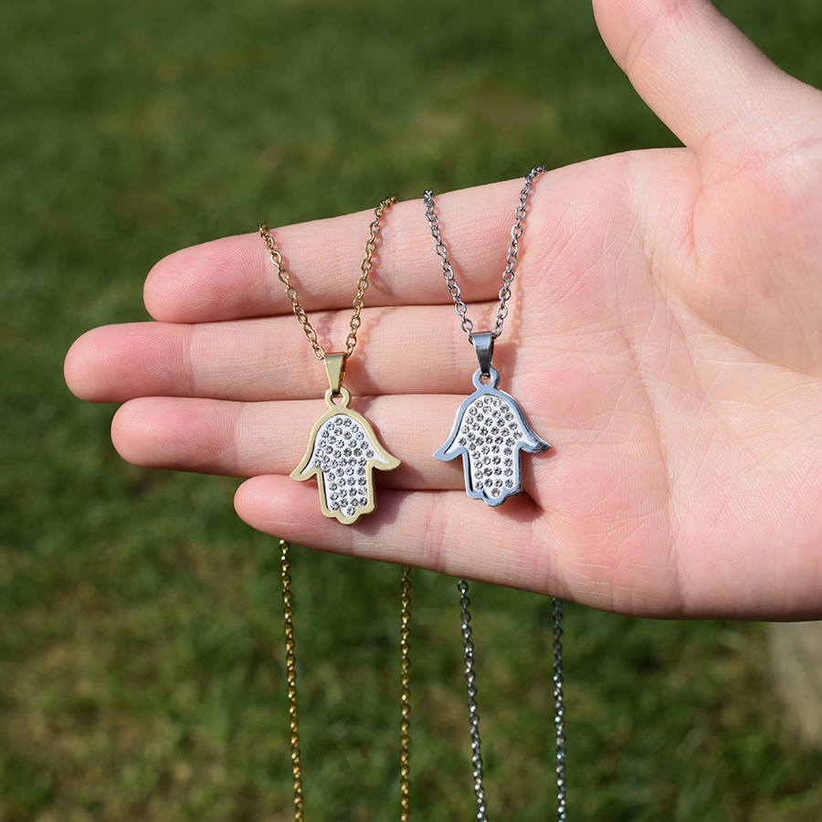 Trendy Hand of Fatima Crystal Necklace Women Stainless Steel Gold Silver Color Necklaces & Pendants Charm Jewelry