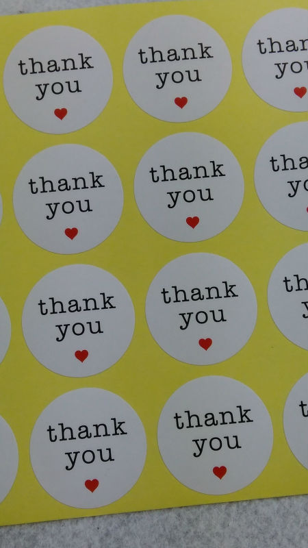 1200PCS/Lot 3cm Round Thank you Love Sticker labels  white Paper Stickers Labels DIY hand made for gift box /cake