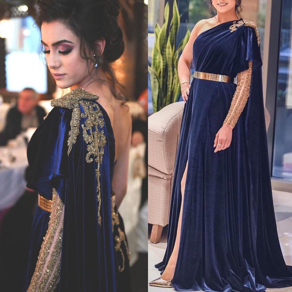 Elegant Navy Blue Evening Dresses One Shoulder Long Sleeves Beading Sexy Backless Velvet Women Prom Dress Plus Size Party Gowns