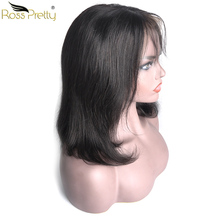 Ross Pretty Natural Black Bob wigs Pre plucked Peruvian 13x4 Lace Front Human hair Remy Straight Hair bob lace frontal wig