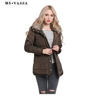 MS VASSA Women Parkas 2017 New Fashion Ladies Jackets With Fake Fur Collar Winter Autumn Coats