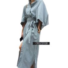 [CHICEVER] Spring kimono Cloak Sleeves Striped Loose Long Shirt Women Dress With Belt Lace Up High Waisted New Clothing