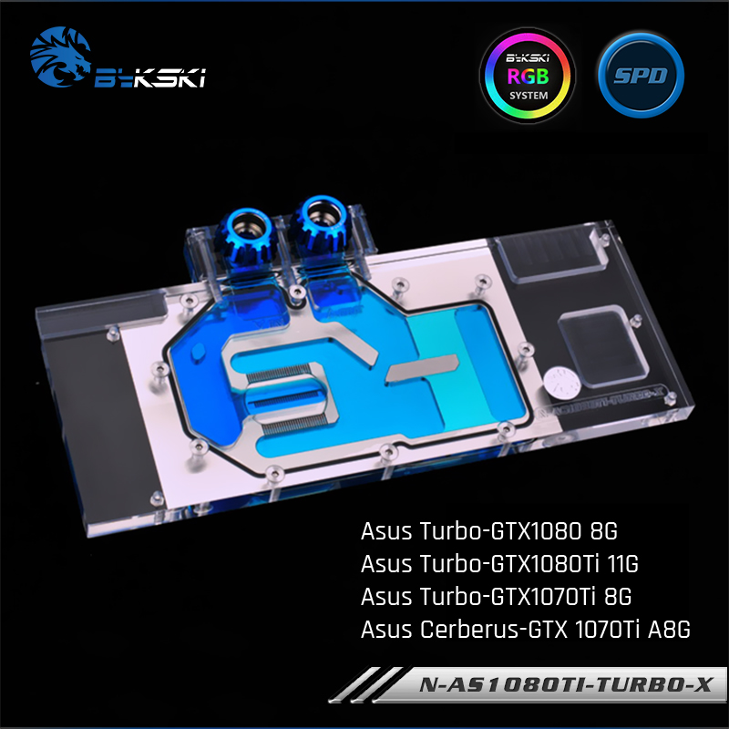 Bykski N AS1080TI TURBO X Full Cover Graphics Card Water Cooling Block RGB RBW For Asus