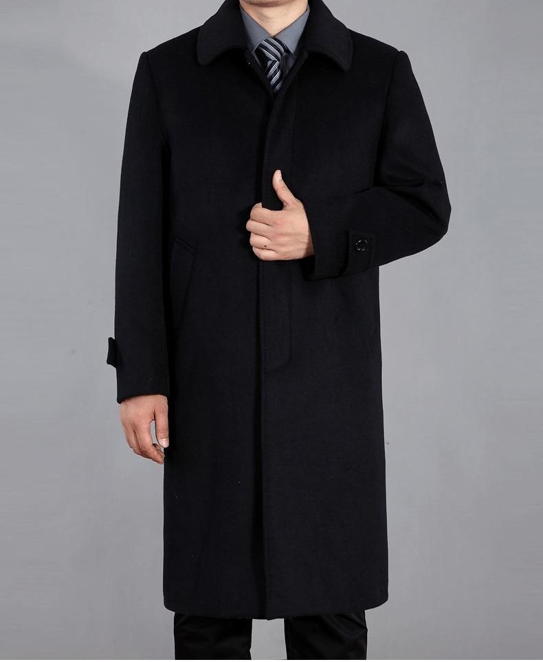 Nouveauté automne hiver laine manteau hommes coupe vent veste revers décontracté couvert bouton épais mode haute qualité taille M 4XL-in Laine et mélanges from Vêtements homme    1