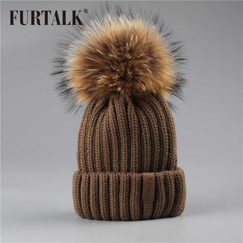 32629c7d3e28ff ... FURTALK Winter Pompom hat for Kids Ages 2-7 Knit Beanie winter baby hat  for ...