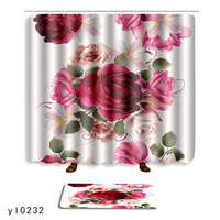 MUZZI Bathroom Decor Colorful 3 D ROSE Pattern Waterproof Shower Curtain Carpet for Bath and Toilet