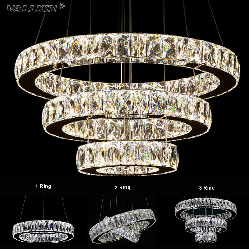 VALLKIN Luxury LED Crystal Chandeliers Lights Hanging Light Lamps Lighting Fixtures For Bedroom Dining Room Ac100 to 240v CE FCC modern crystal chandelier led hanging lighting european style glass chandeliers light for living dining room restaurant decor