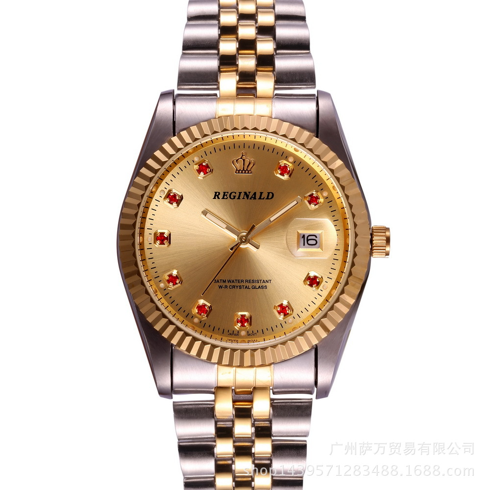 Top Reginald Brand Mens Dress Style Business Watch Steel Wristband Golden Men Quartz Watch Valentines Day Present For Man Gift