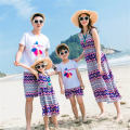 Summer 2017 Family Matching Outfits Mother Daughter Girl Striped Print Dresses,Father Son Printing Tshirt +Wave Striped Shorts