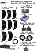 Solarparts off grid Solar System KITS 800W flexible solar panel 1pcs 60A controller 2KW inverter 2