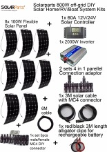Solarparts off-grid Solar System KITS 800W flexible solar panel 1pcs 60A controller 2KW inverter,2 sets 4 in1 MC4 adaptor cable.