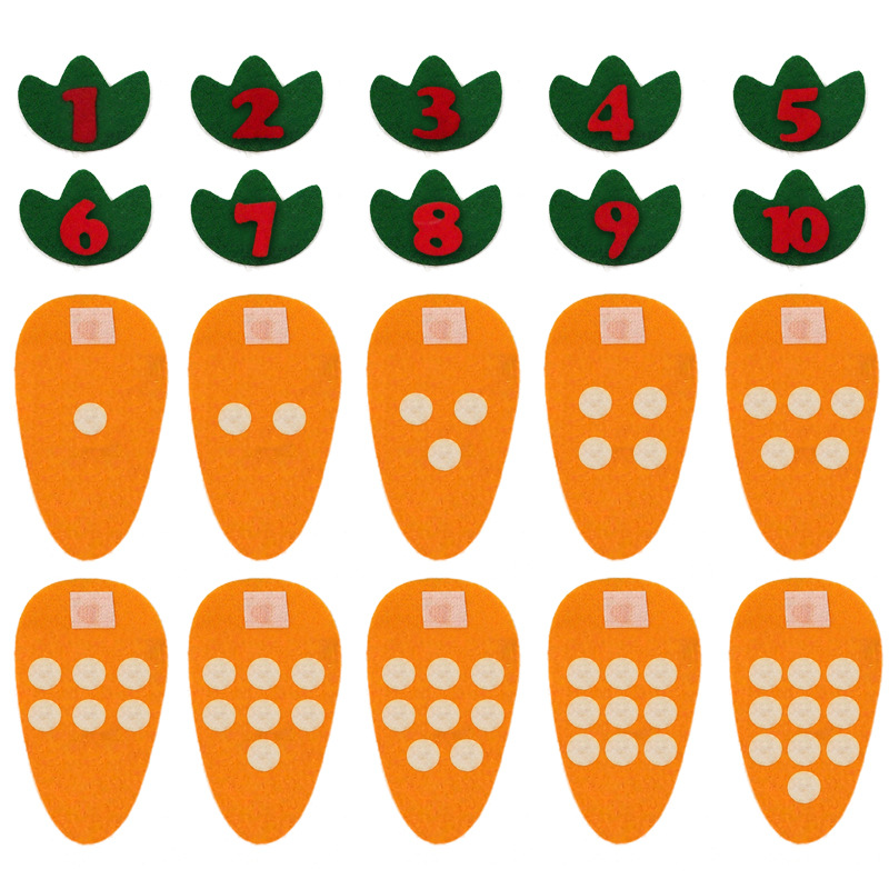 Montessori Toys Math Digital Matching Game Carrot Number 1-10 Counting Toys For Children Preschool Educational Learning 3 Years image