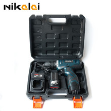 NIKALAI 16.8V rechargeable lithium battery*2 hand electric drill bit wood cordless drill electric screwdriver with carry case(China (Mainland))