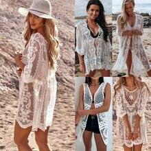 Сексуальное Женское кружевное пляжное длинное платье макси с цветочным рисунком, бикини, накидка, купальник, кафтан, вязаное крючком пляжное платье