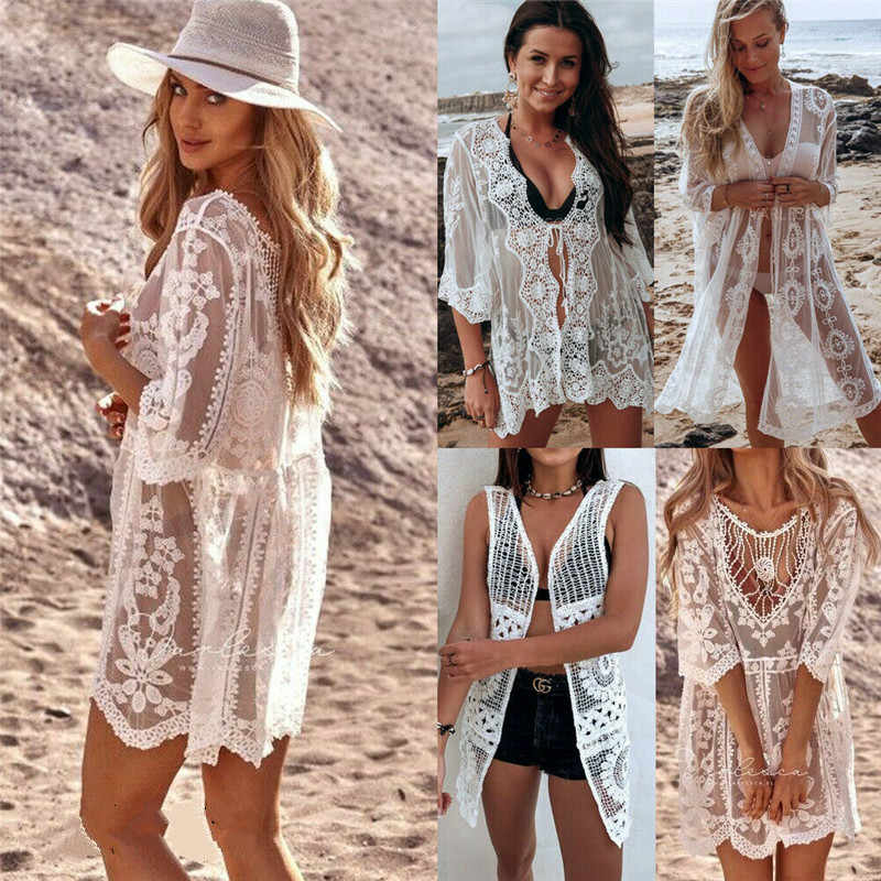 2019 Sexy Women Lace Floral Beach Long Maxi Dress Bikini Cover Up Bathing Suit Swimwear Kaftan Crochet Beach Dress