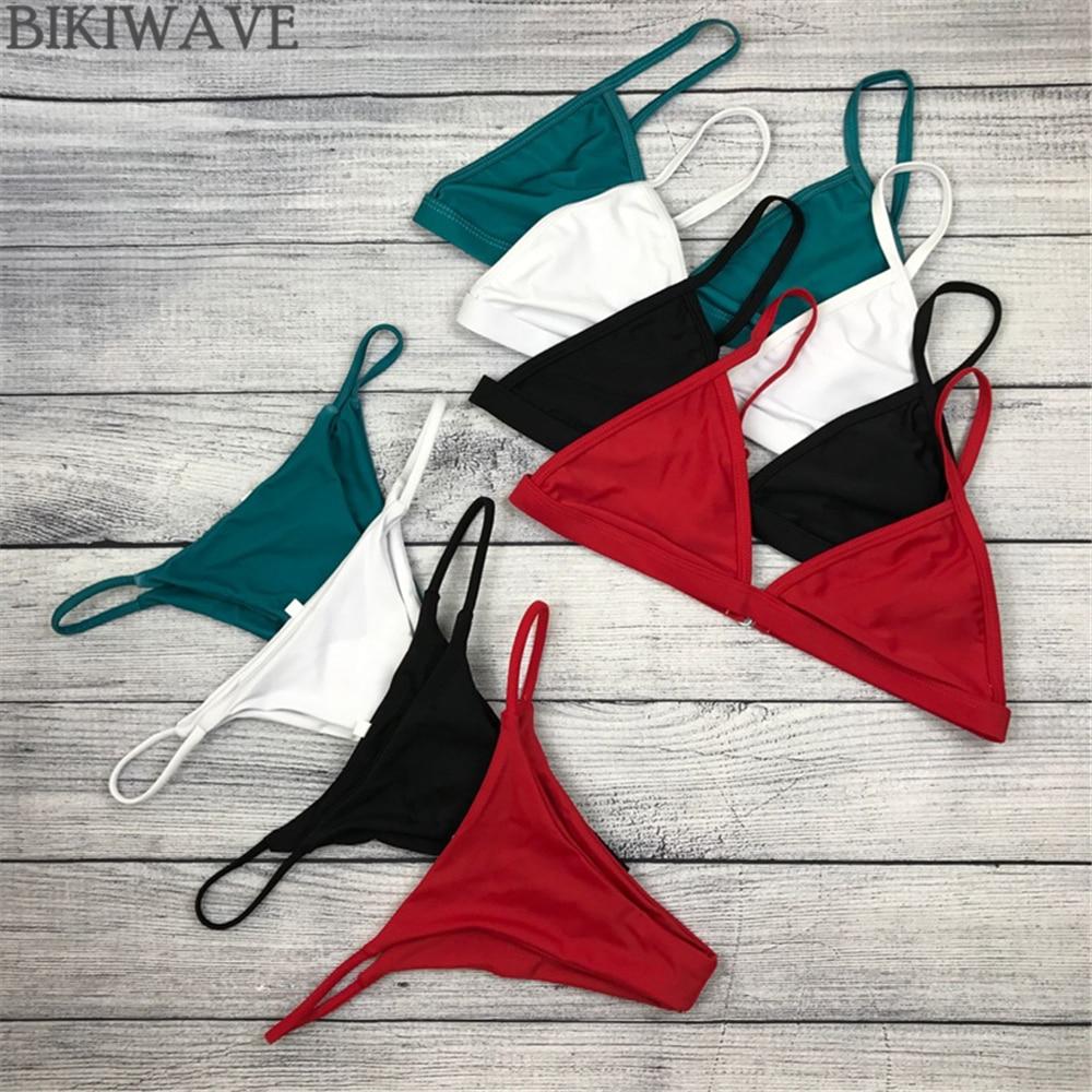 2019 Sexig Bikini Set Brasiliansk Klipp Baddräkt Kvinnor Badbyxor Halter Biquinis Retro Stil Käftig Enkel Thong Bikinis Hot Maillot