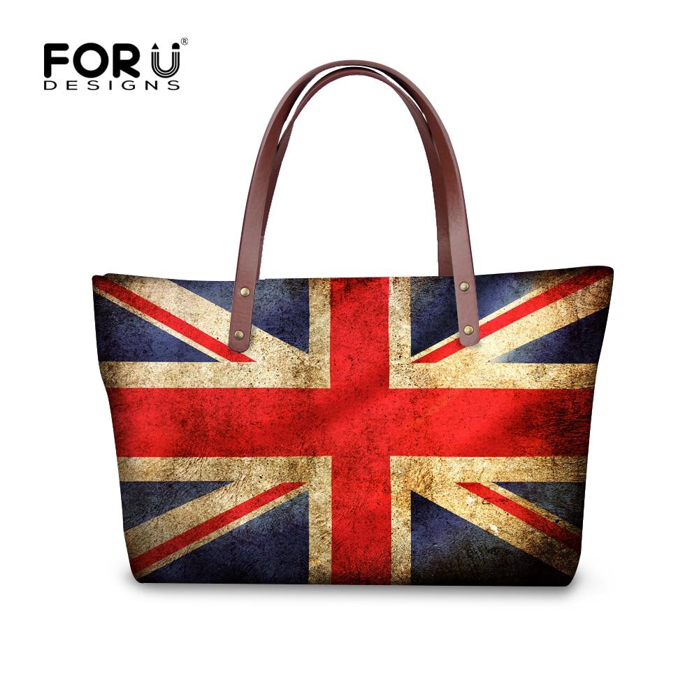 High Quality Uk Flag Women Handbags Vintage Shoulder Bags Capacity Cross Body Travel Bag Brand Bolsa Feminina Lady Tote In Top Handle From