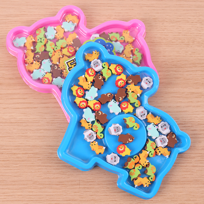 1 Box Lovely Cute Colored Animal Rubber Pencil Eraser Students Stationery School Supplies Material Escolar Erasers For Kids