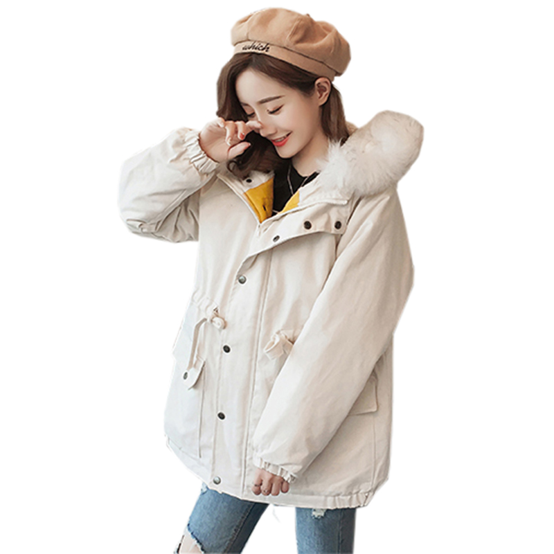 Winter Female Cotton Coats Fashion Big Faux Fur Collar Hooded Long Thicken Warm   Parkas   Women Casual Down Cotton Jackets FP1713