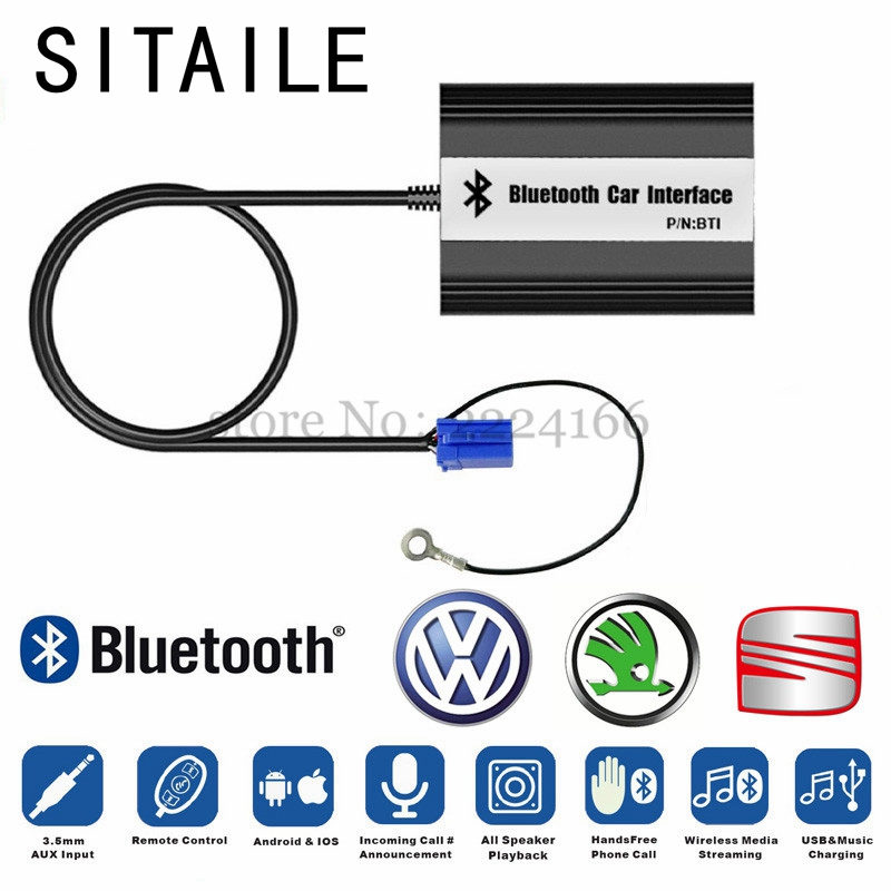 SITAIEL Car MP3 Music Player Bluetooth A2DP Adapter for VW Skoda 8Pin 12Pin Plug Interface Quality USB Charging Car-styling