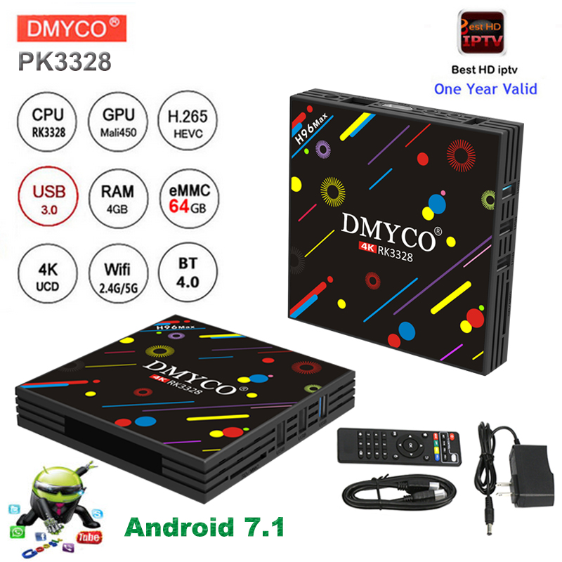 1 year Europe iptv subscription smart android 7.1 tv box RK3328 2.4G/5G Wifi 100M HDMI Bluetooth 4.0 4G+64G Spain set top box