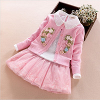 Girls Clothing Sets 2017 Cotton Sweater 3Pcs Set Coat T Shirt Skirt Autumn Long Sleeve Flower