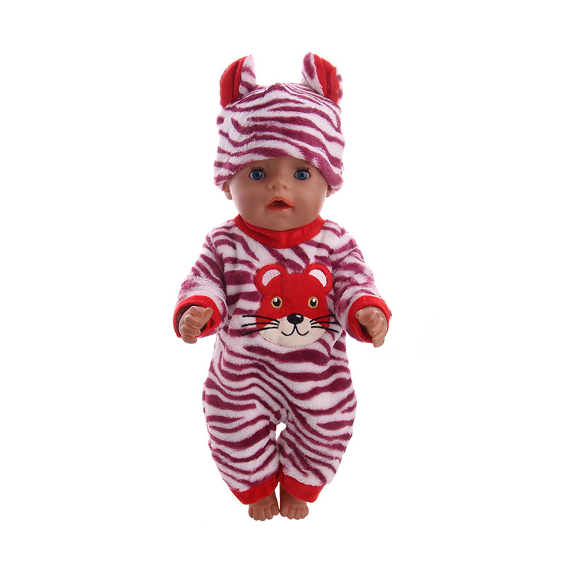 LUCKDOLL  Tiger Pajamas Suits For 43 Cm  Doll Or 18 Inch  Doll Clothes Accessories