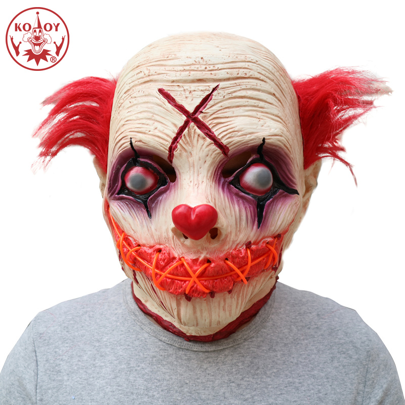 Halloween costume Adult LED Glowing Clown cosplay mask Funny Clown Mask Halloween Party Scary joker Latex Masks Cosplay Prop