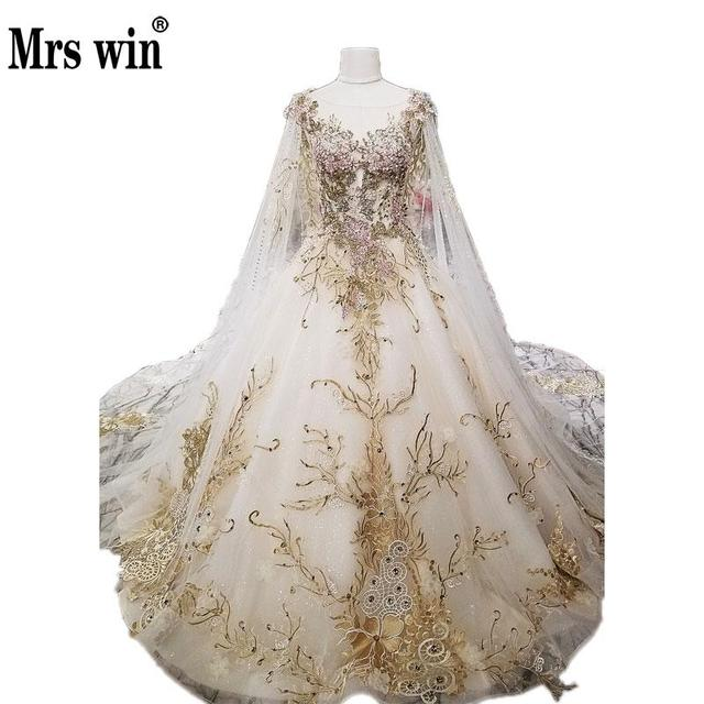 Robe De Mariee Grande Taille With Cape Real Photo Royal Lace ...