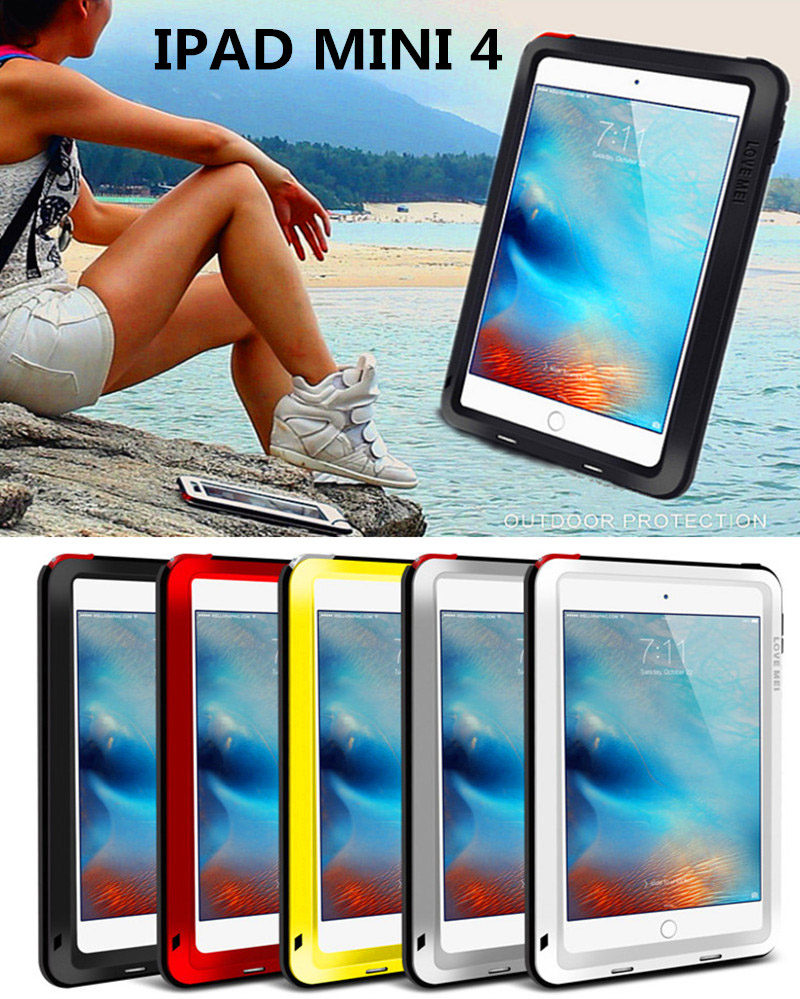 Original Love Mei Metal Polymer Powerful Gorilla Glass Waterproof Shockproof Dirt proof Cover Bag Case For iPad Mini 4 lovemei shockproof gorilla glass metal case for galaxy note4 n9100