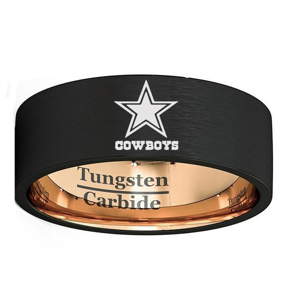 Customize Engraved Dallas Cowboys 8mm Black with Rose Gold Color Tungsten Carbide Wedding Band Ring Comfort