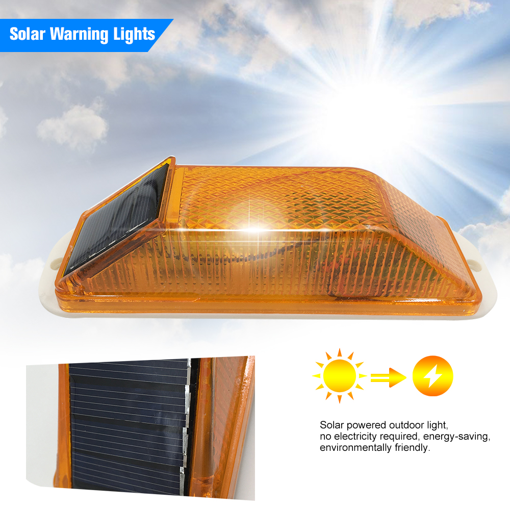 Solar Warning Light Sensitive Strobe Flash Warning LED Caution Lamp Mounted Outdoor On Balusters For Safety Night Driving