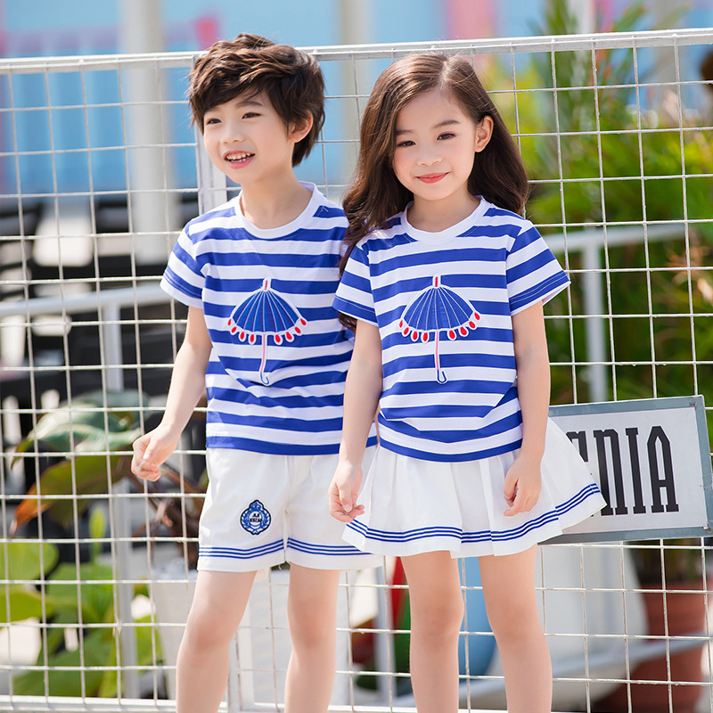 Summer Kids Clothes Sets 3-18years Boys Girls Stripe Short Sleeve T Shirts + Shorts Skirts Children School Uniform Navy Uniforms summer kids clothes sets boys girls short sleeve t shirts plaid shorts skirts children school uniform performance clothes