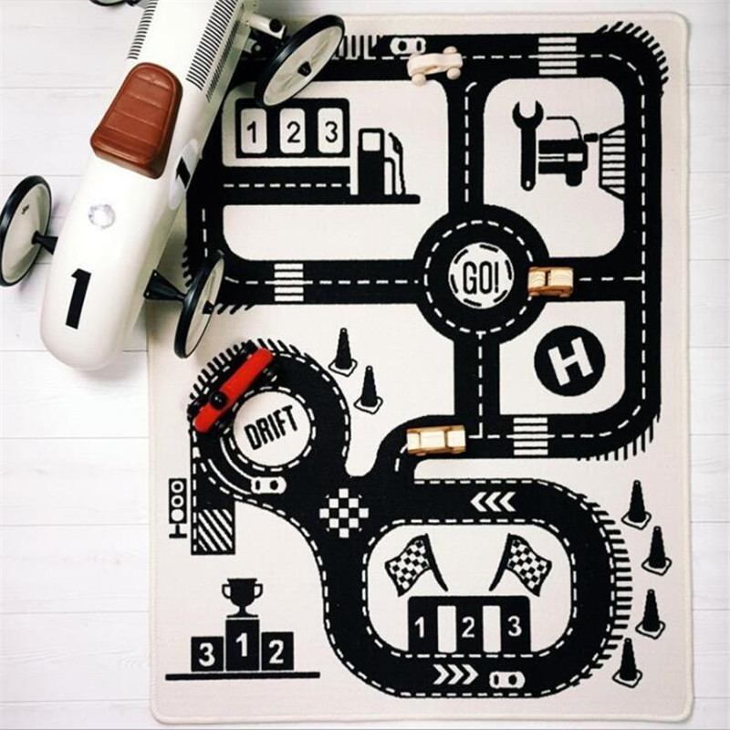 Baby Play Mat Soft Crawling Rugs Car Track pattern Puzzles Learning Toy 90 140cm Nordic Style Baby Play Mat Soft Crawling Rugs Car Track pattern Puzzles Learning Toy 90*140cm Nordic Style Kids Room Decoration Floor Carpet