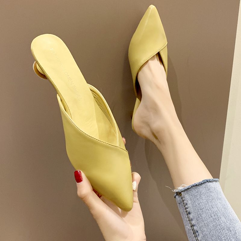 EOEODOIT 2019 Summer Leather Slippers Slip On 3 CM Kitten Low Heel Shoes Women Pumps Slides Sandals