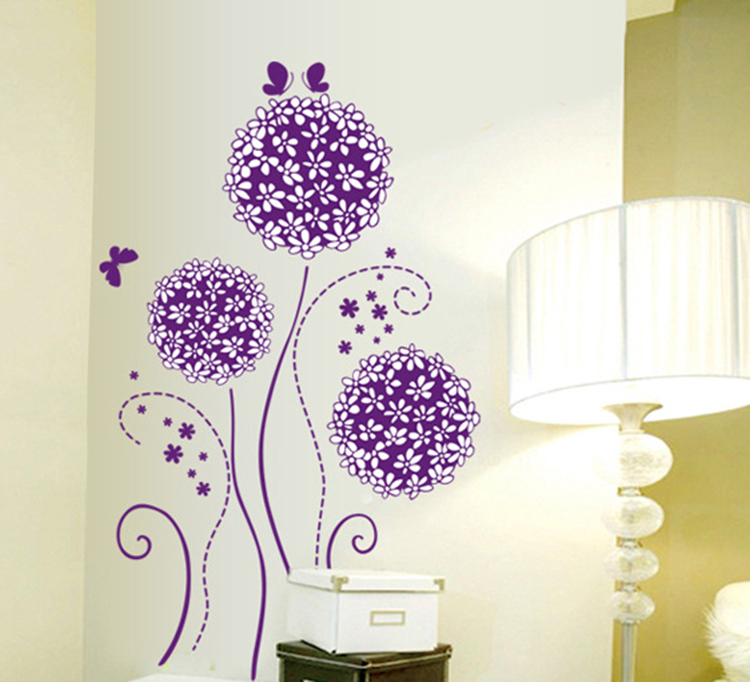 Purple Pollen Removable Wall Art Decal Sticker Diy Home: Dandelion Flower Ball Purple Black Wall Decal Home Decor