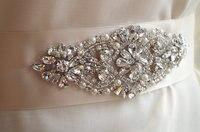 Crystal Applique Rhinestone Bead Bridal Sash Bridal Headpiece Applique ZP015