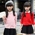 child cardigan Knitted sweater children's outerwear girl spring and autumn jacket School Uniform