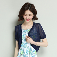 High quality summer women silk knitwear elegant hollow thin knit cardigan short knit outwear