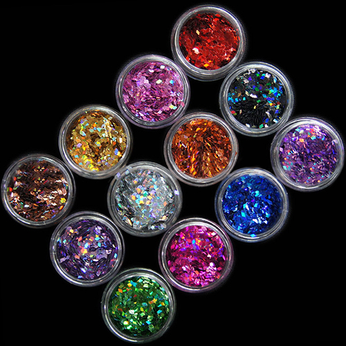3D Rhombus Shape Glitter Nail Art (12 Color/Set)