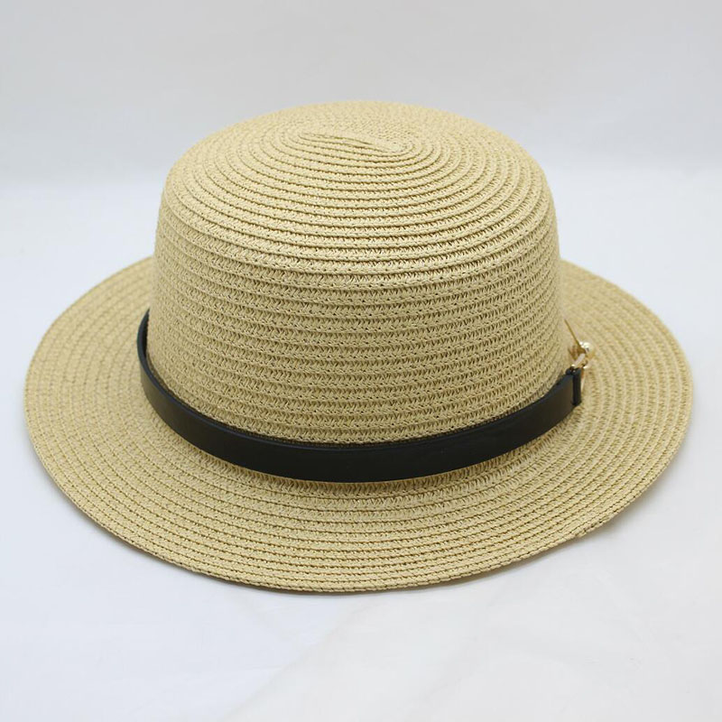 BINGYUANHAOXUAN 2018 Ladies Summer Travel Wild Pure Color Sun Hat Fashion Buckle Metal Flat Top Woman Straw Hat in Men 39 s Sun Hats from Apparel Accessories