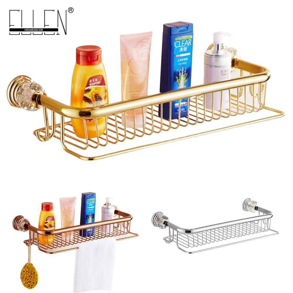 Luxury crystal brass gold bath shampoo holder towel hooks Bathroom Accessories bath hardware EL7089