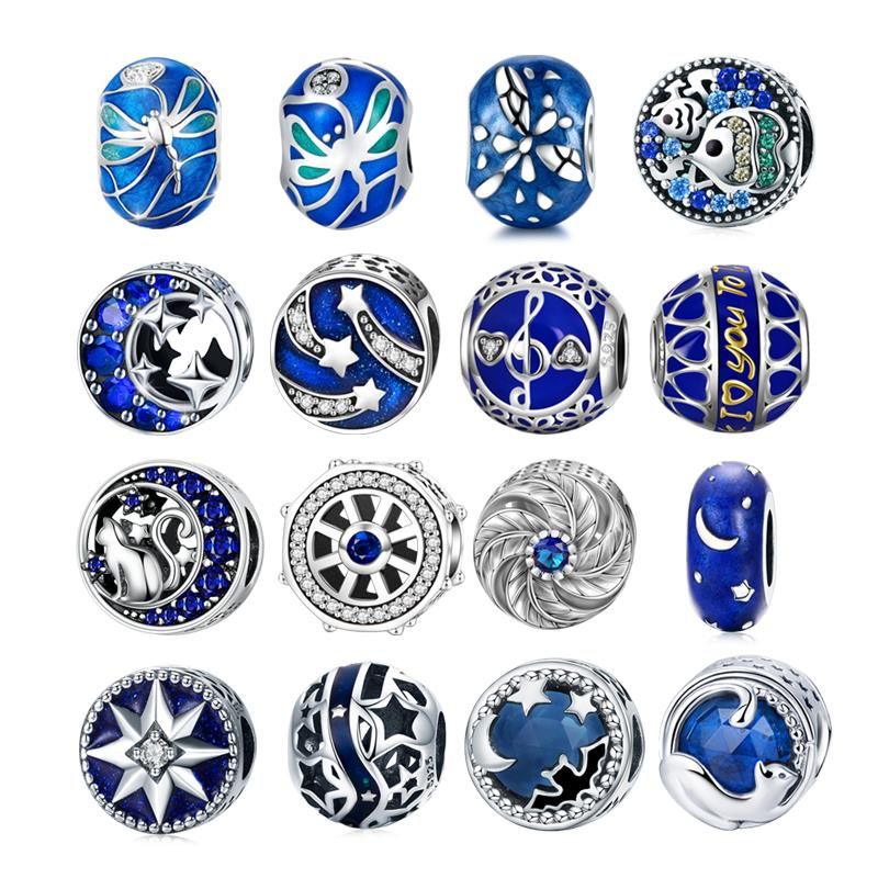 DALARAN 925 Sterling Silver Charms Blue Moon Star Beads For DIY Enamel Fine Jewelry Making Fit Original Charm Bracelets Necklace