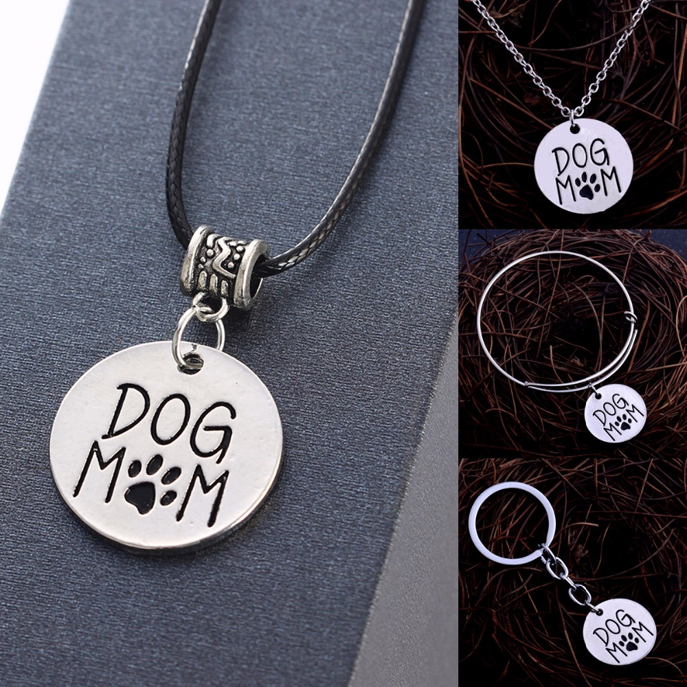 Lovely Dog Mom Necklaces Cute Pet Paw Prints Pendant Chain Necklace Family Mommy Bracelet Bangle Mothers Women Keychain Keyring
