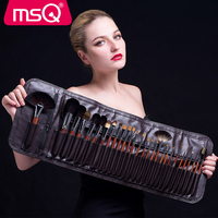 MSQ Make Up Tools Professional Artist Mink Hair Red Solid Wood Natural Animal Hair 28Pcs Set