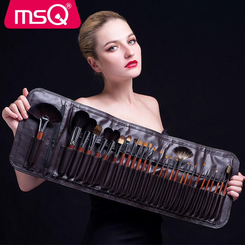 MSQ Make Up Tools Professional Artist Mink Hair Red Solid Wood Natural Animal Hair 28Pcs/Set Makeup Brush Sets PU Cosmetic Bag